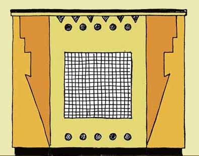 drawing of an art deco radiator cabinet